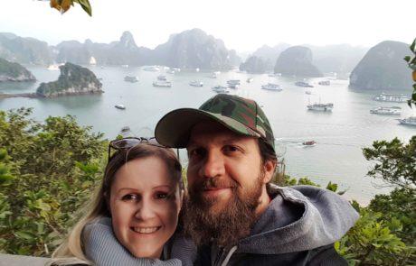 Am Aussichtspunkt von Dao Ti Top, Ti Top Islang in der Ha-Long-Bucht in Vietnam