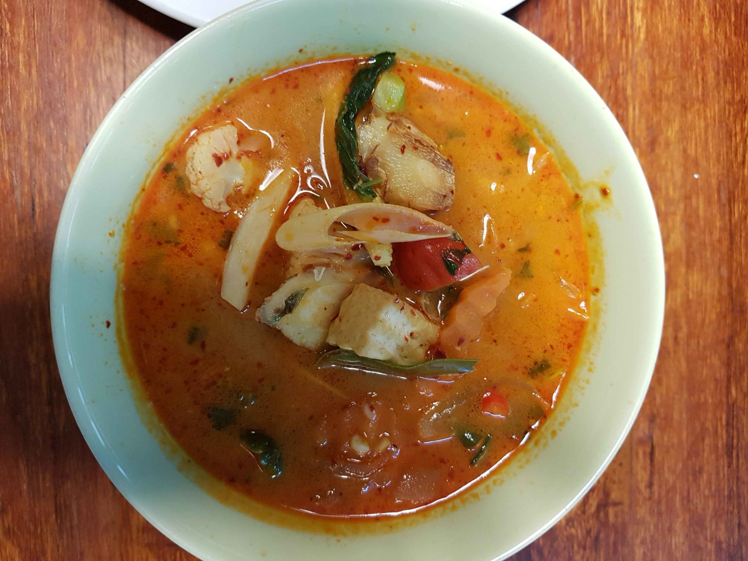 Tom Yam Soup in May Kaidee's Cooking School in Bangkok, Thailand